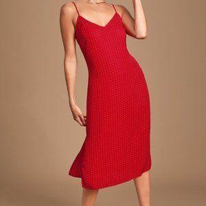 Paiton Red Print Midi Slip Dress